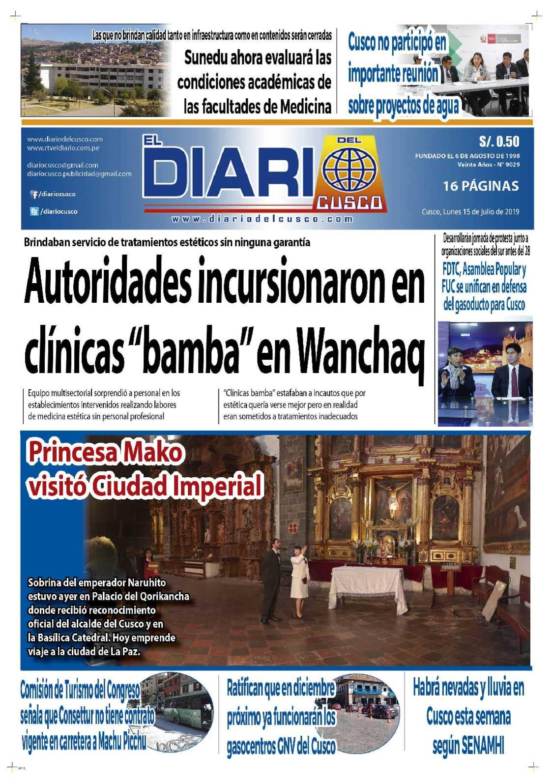 Diario del Cusco  15 de Julio de 2019