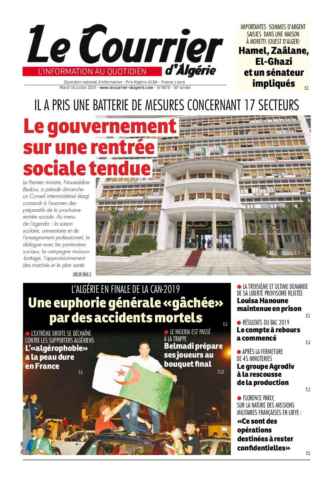 Le Courrier d'Algérie du mardi 16 juillet 20019