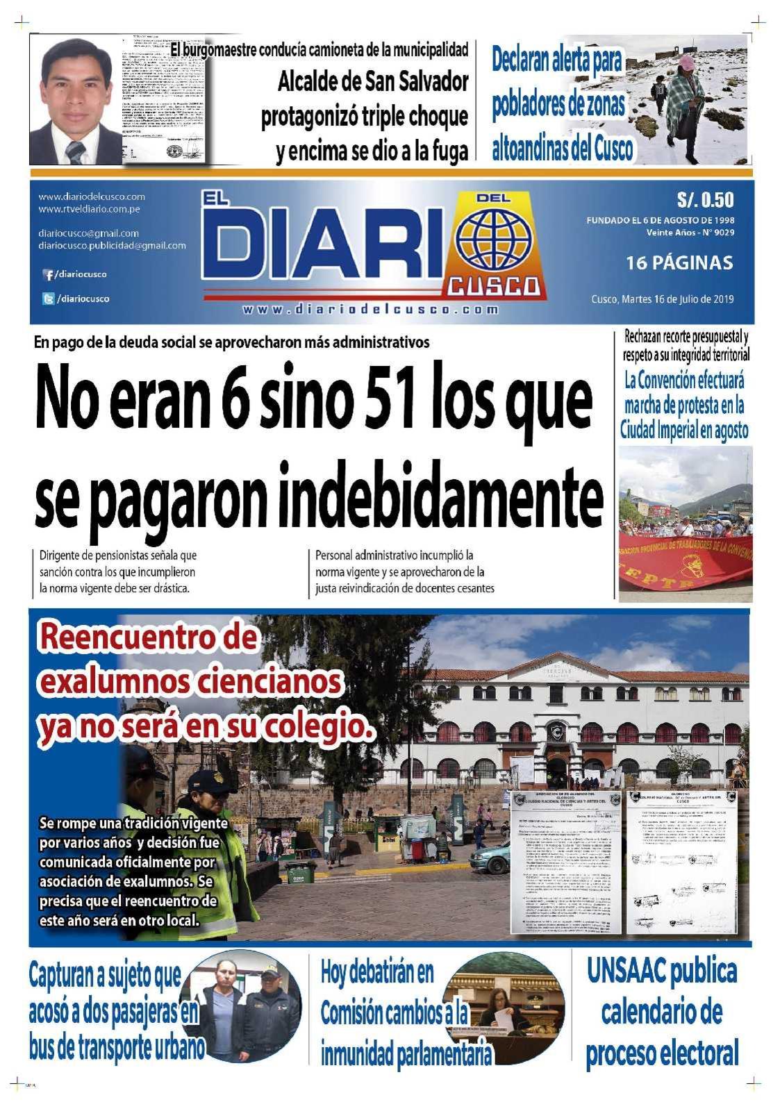 Diario del Cusco 16 de Julio de 2019