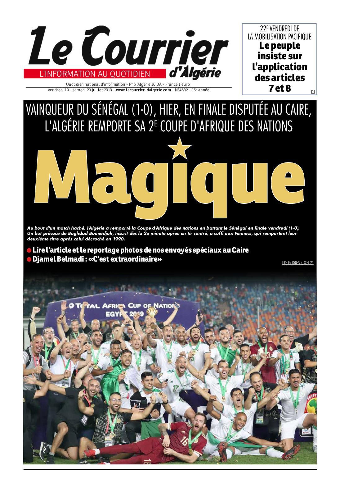 Le Courrier d'Algérie du samedi 20 juillet 2019