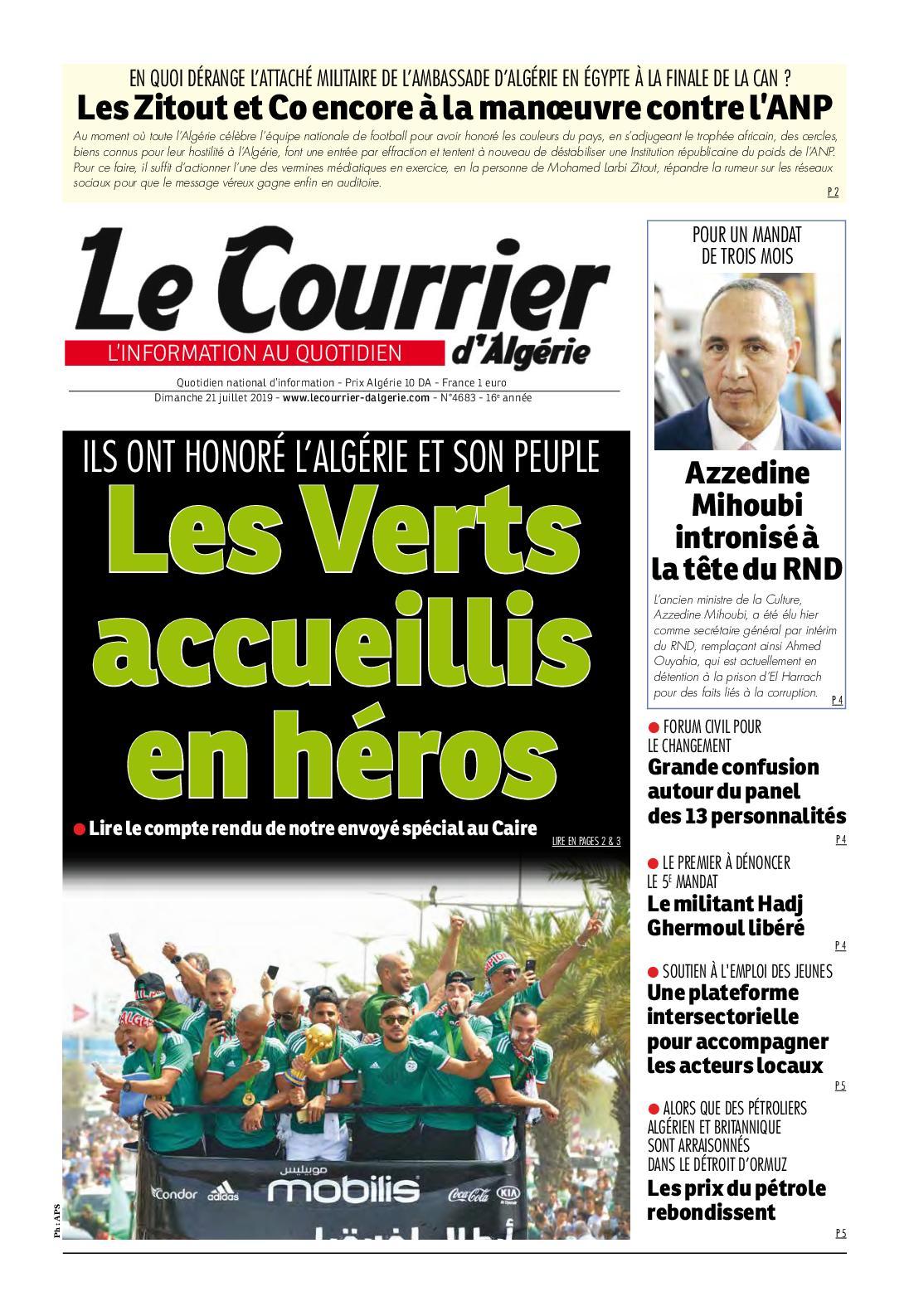 Le Courrier D'algérie Du Dimanche 21 Juillet 2019