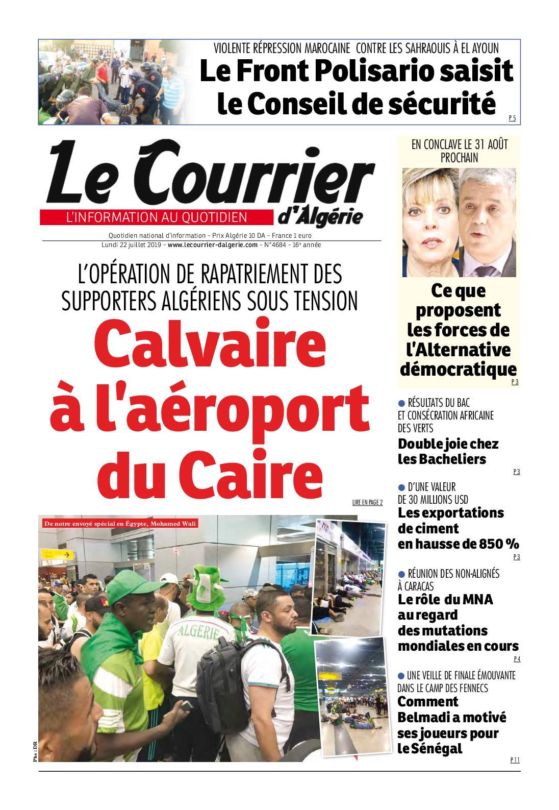 Le Courrier D'Algérie Du Lundi 22 Juillet 2019