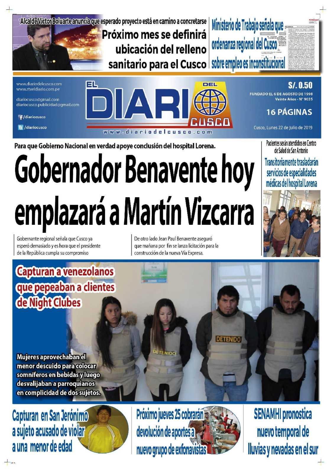 Diario del Cusco 22 de Julio de 2019