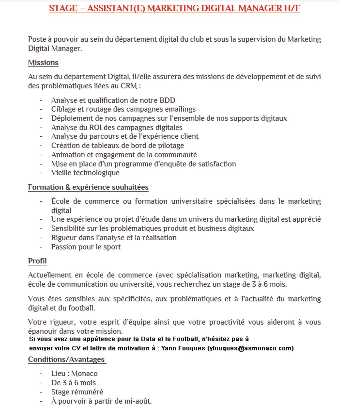 Calaméo B3 Pge Offre De Stage Communication As Monaco