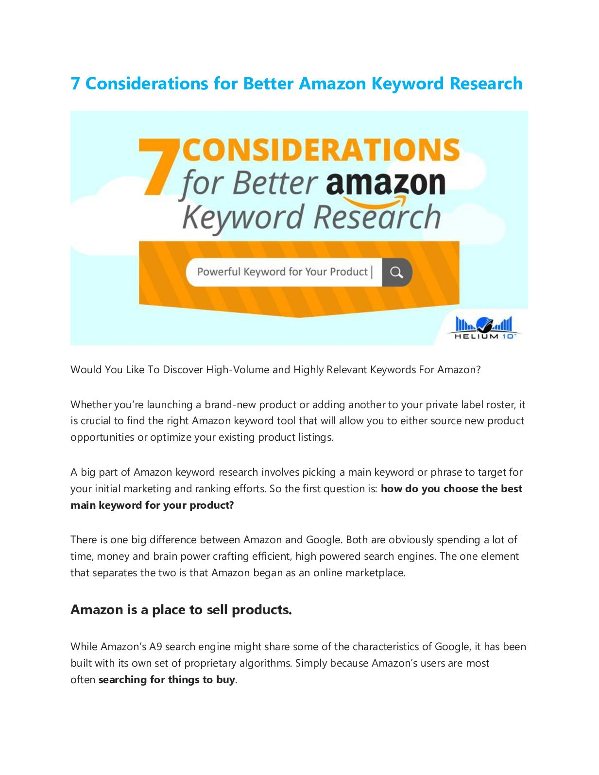 best amazon keyword research tool