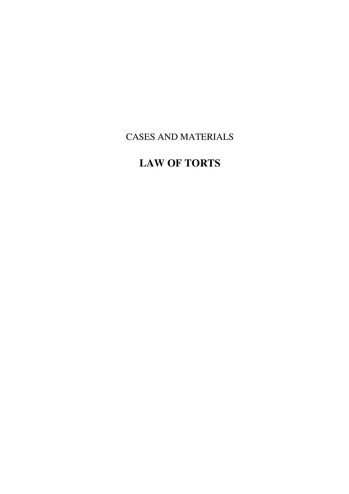 Calameo Tort Law 2007 Cases Materials