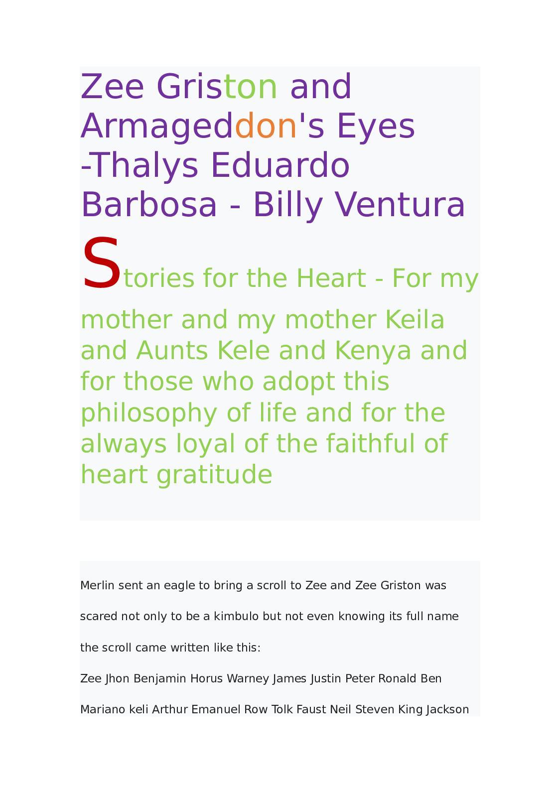Calaméo - Livr Zee Griston and Armageddon's Eyes -Thalys