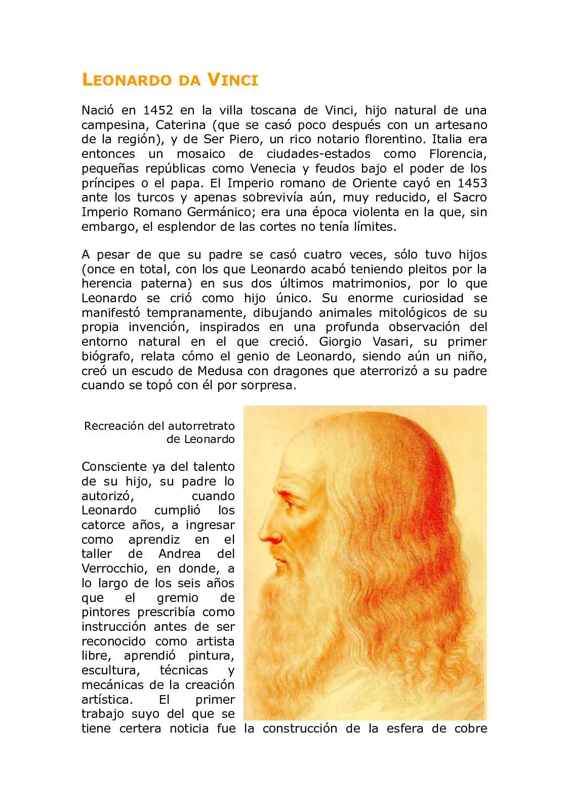 Leonardo Da Vinci Resumen Su Vida