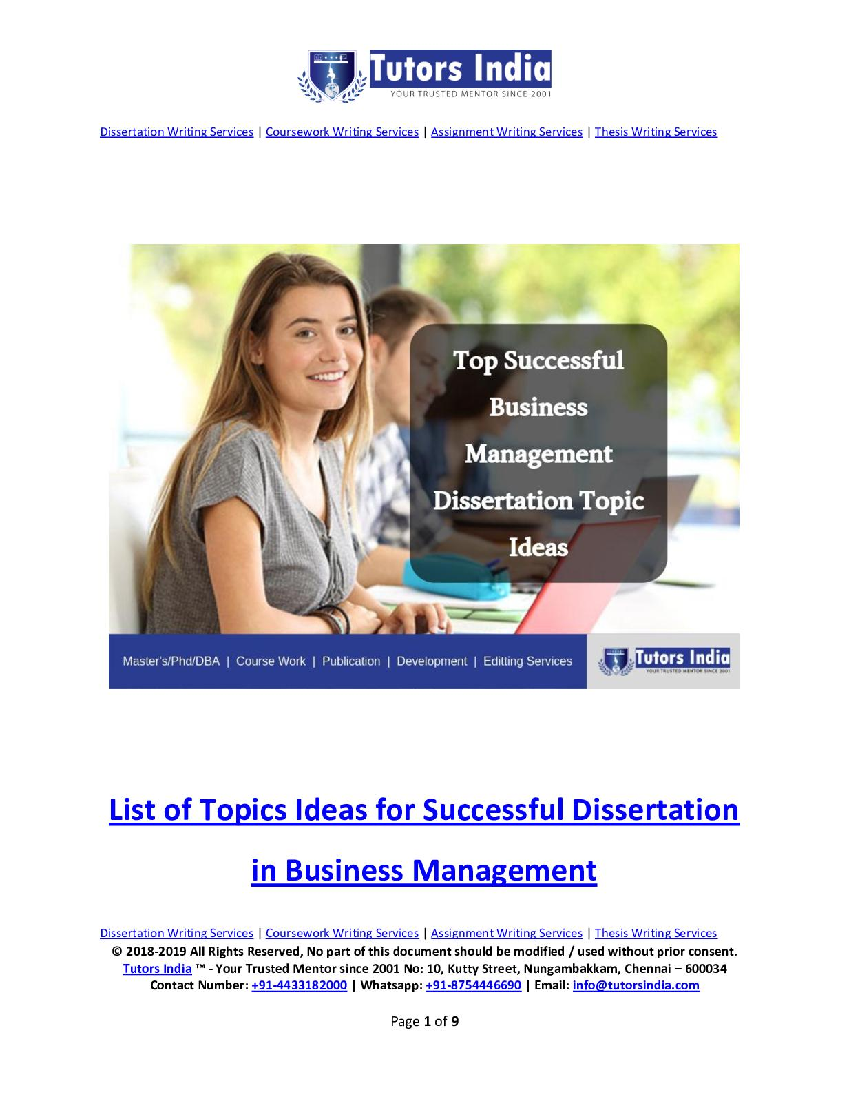 Business management thesis ideas sample of review of literature in dissertation