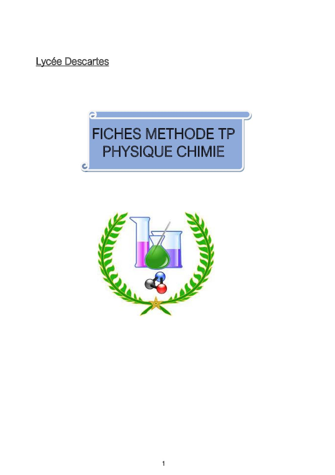 Fiches Methodes Physique Chimie