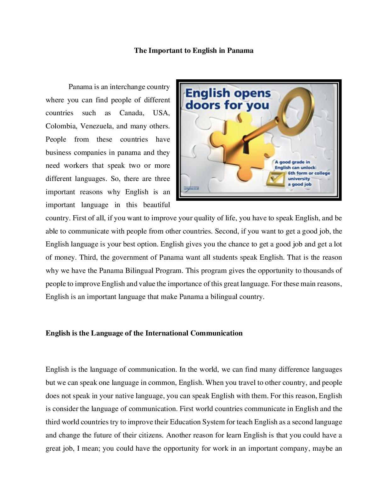 The Importance Of English In Panama Convertido