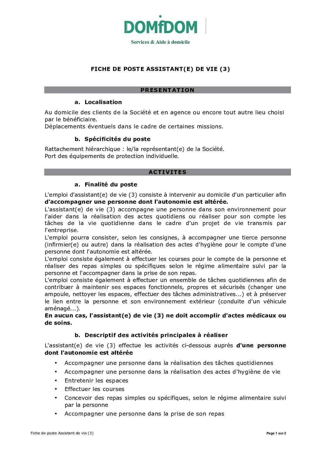 Calaméo - Domidom Fiche De Poste Auxiliaire De Vie 8