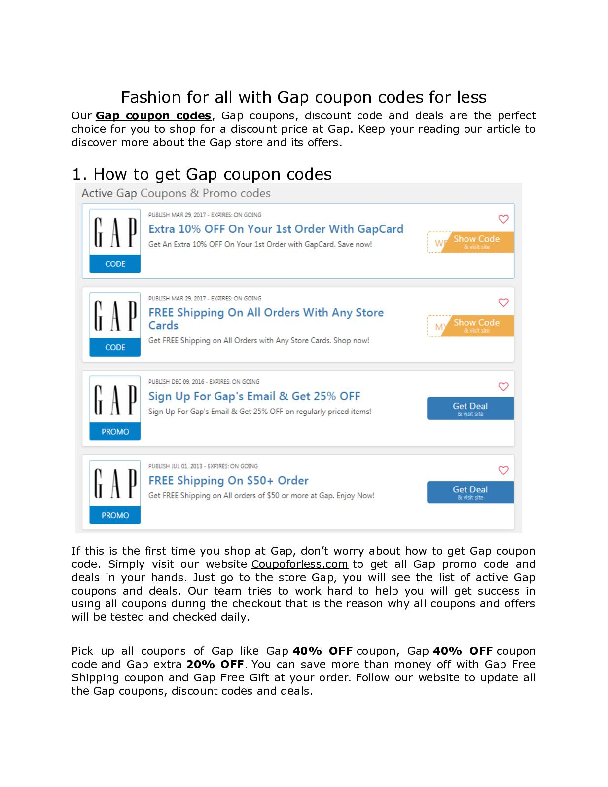 Calameo Fashion For All With Gap Coupon Codes For Less