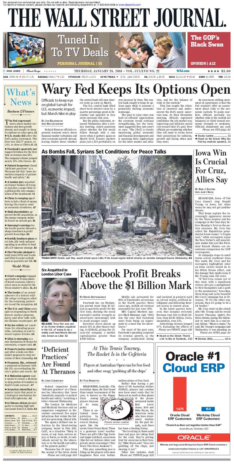 Calaméo - Wallstreetjournal 20160128 The Wall Street Journal