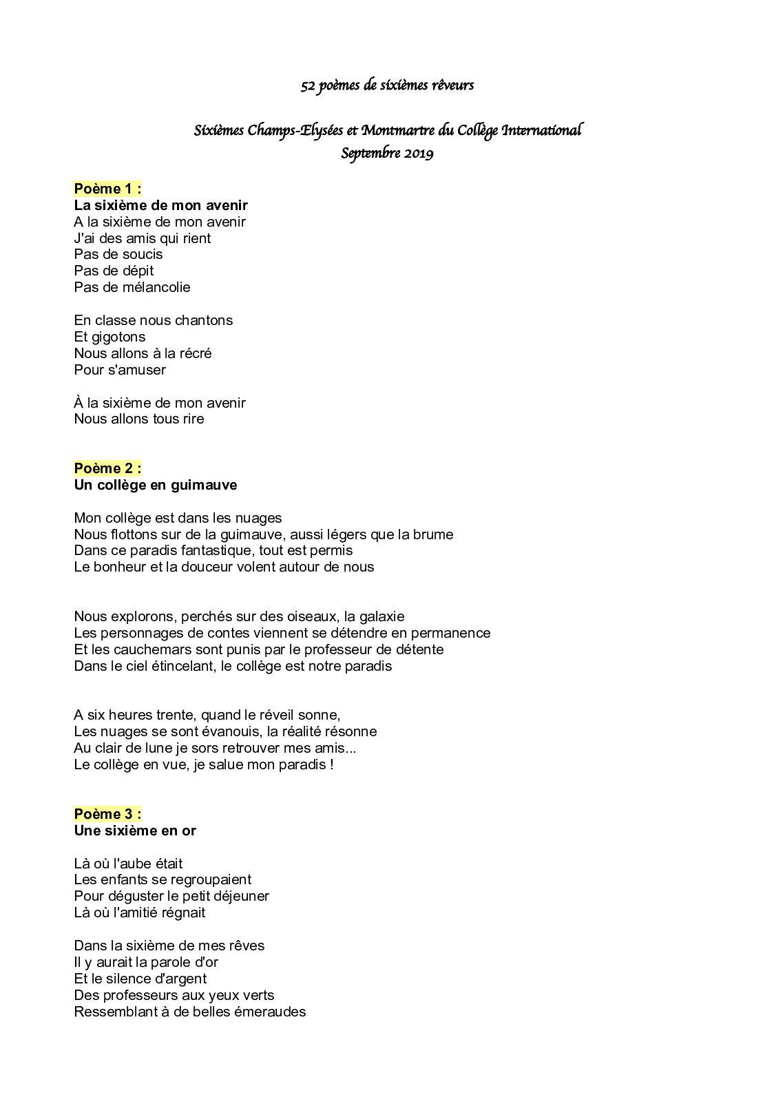 Calaméo Les Poèmes Des 6e Qui Rêvent 2
