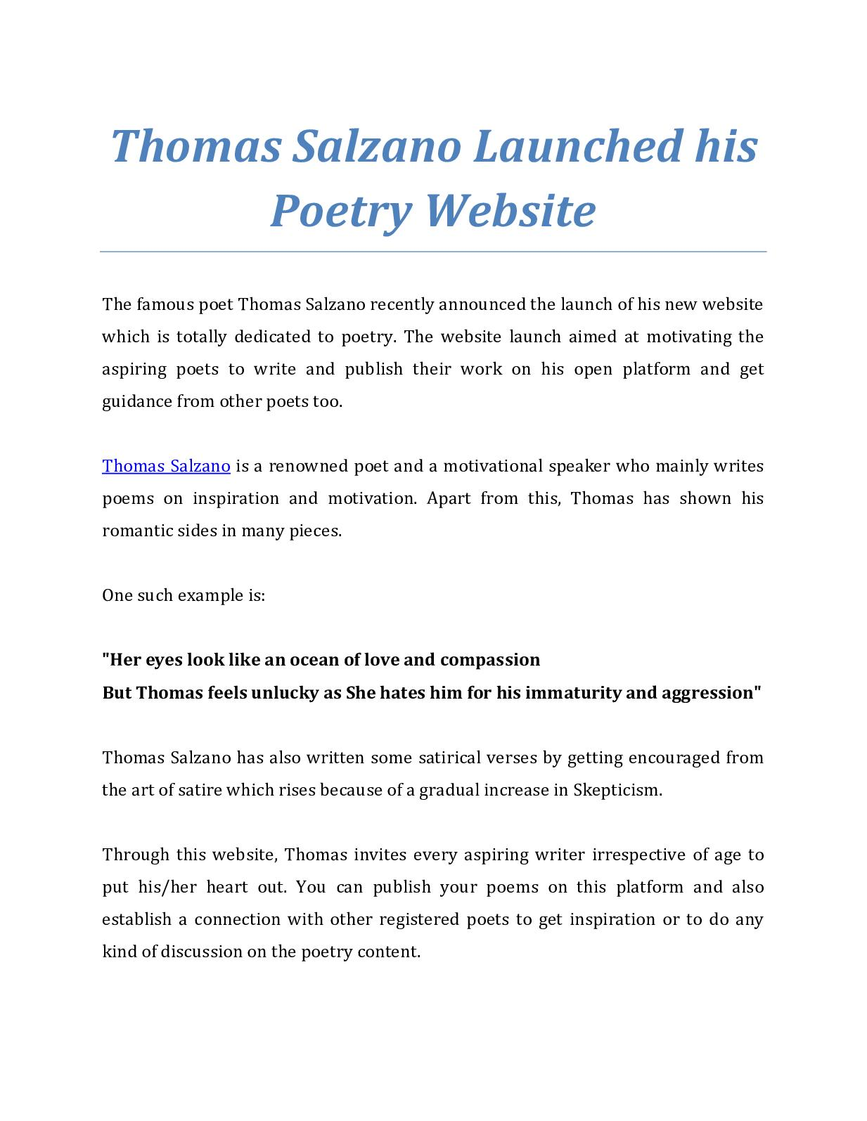 Calameo Thomas Salzano Launched His Poetry Website