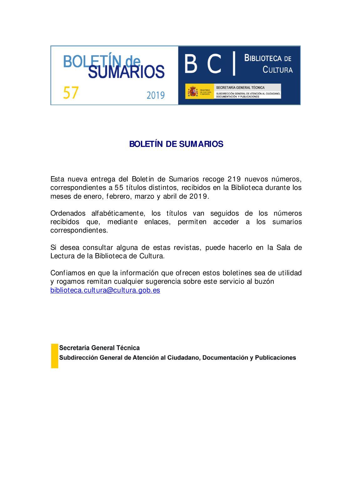 Calaméo Boletin De Sumarios Biblioteca De Cultura 57