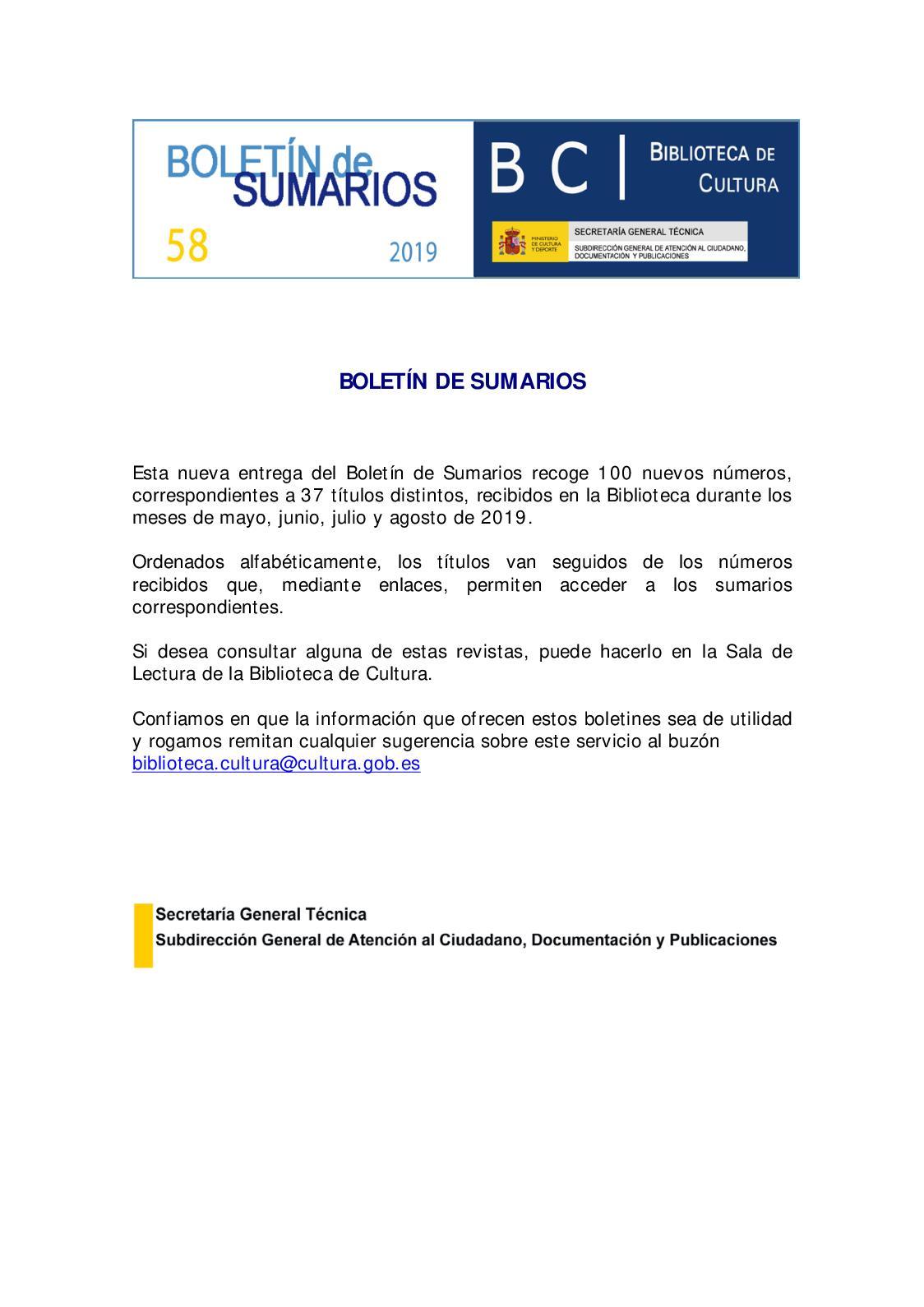 Calaméo Boletin Sumarios Biblioteca De Cultura 58