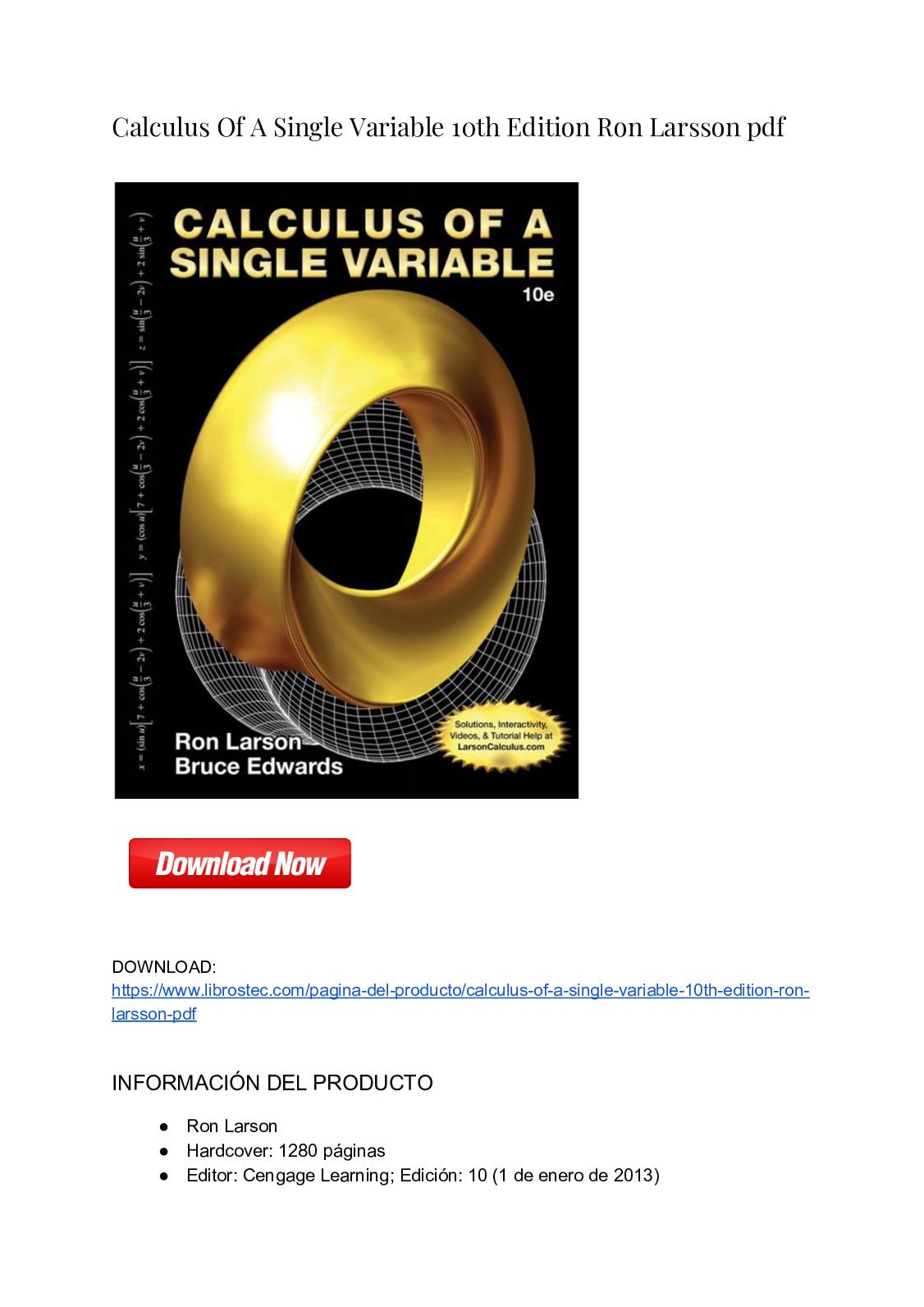 Calam O Calculus Of A Single Variable 10th Edition Ron