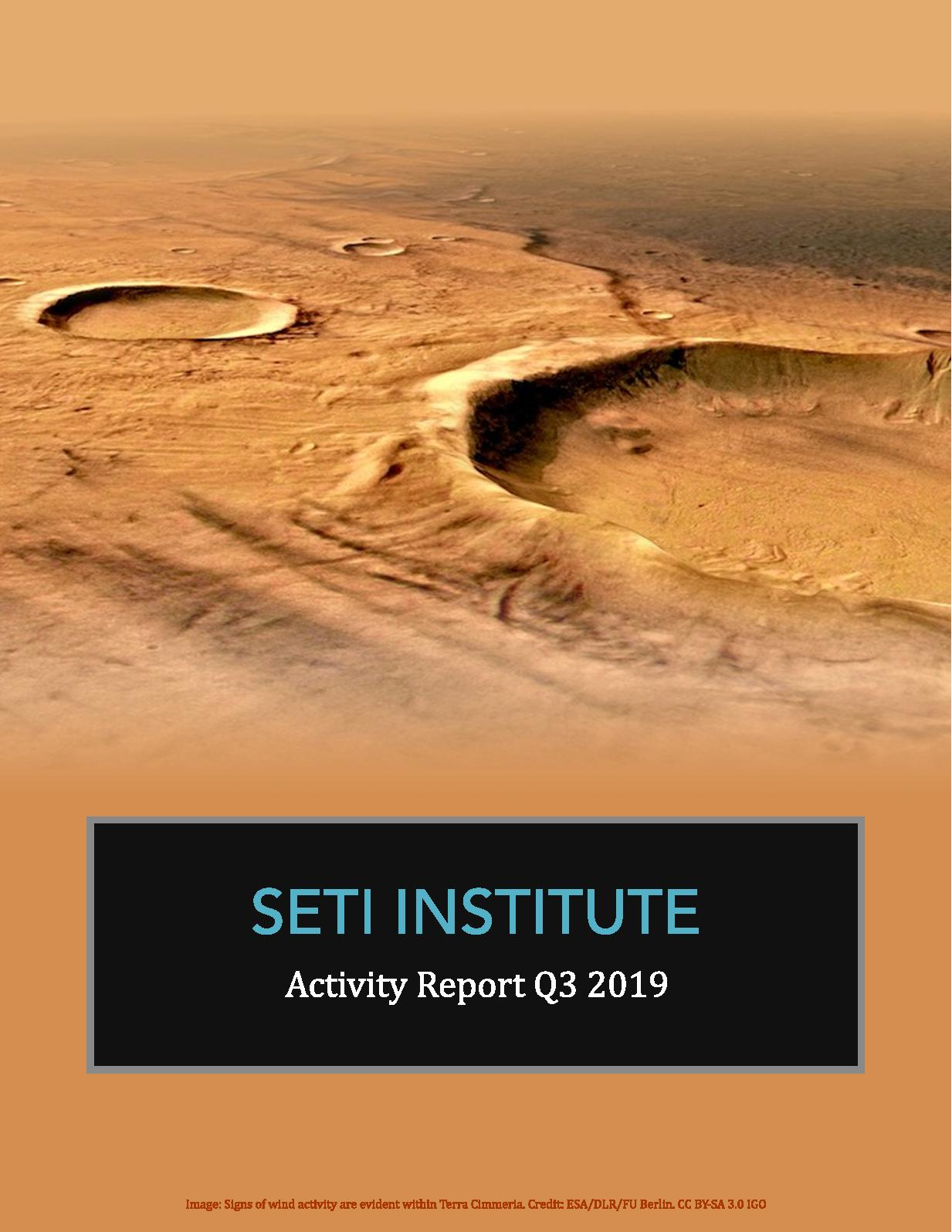 Calameo Seti Institute Q3 2019 Activity Report