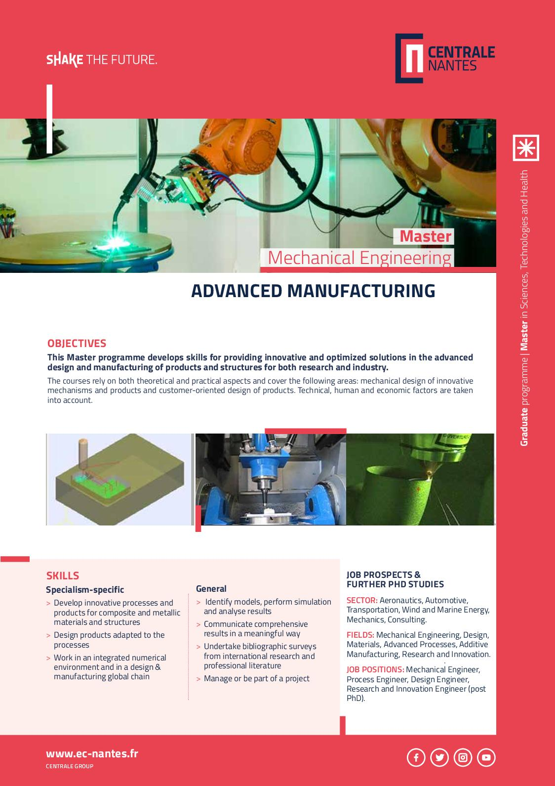 Calameo Master Mechanical Engineering Advanced Manufacturing