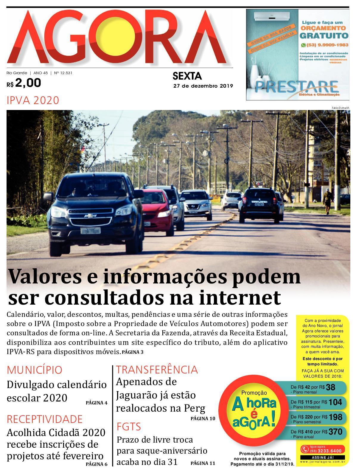 Jornal Agora - Edição 12531 - 27 de Dezembro de 2019