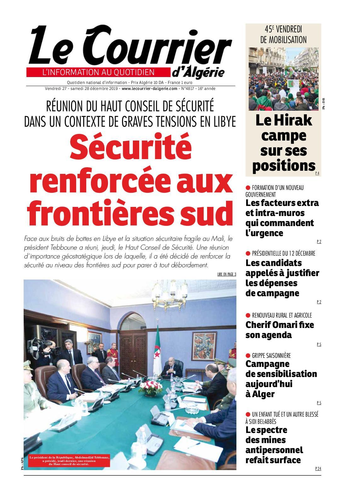 Le Courrier d'Algérie du samedi 28 décembre 2019