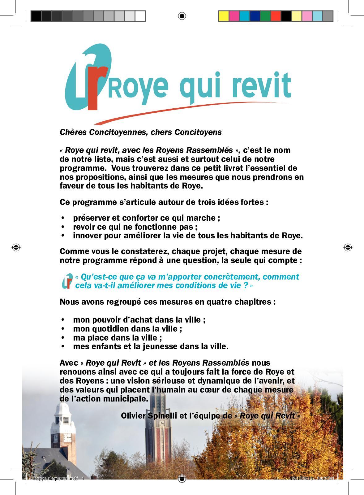 """élections municipales du 15 mars: le programme de """"Roye qui Revit avec les Royens Rassemblés"""""""