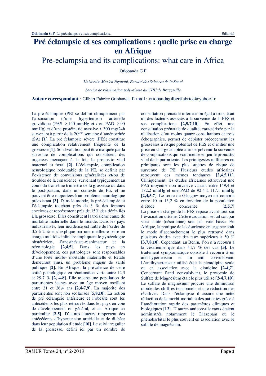 Hipertensión gravidique en afrique