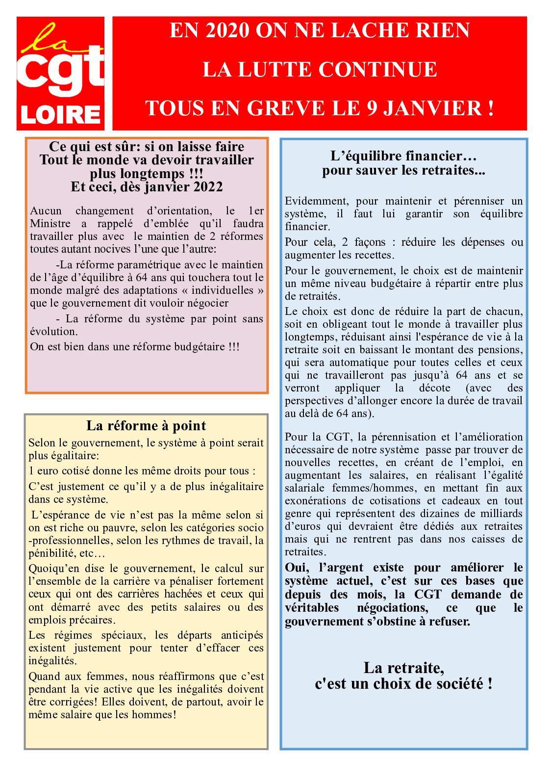 Tract CGT Loire 09 janvier 2020