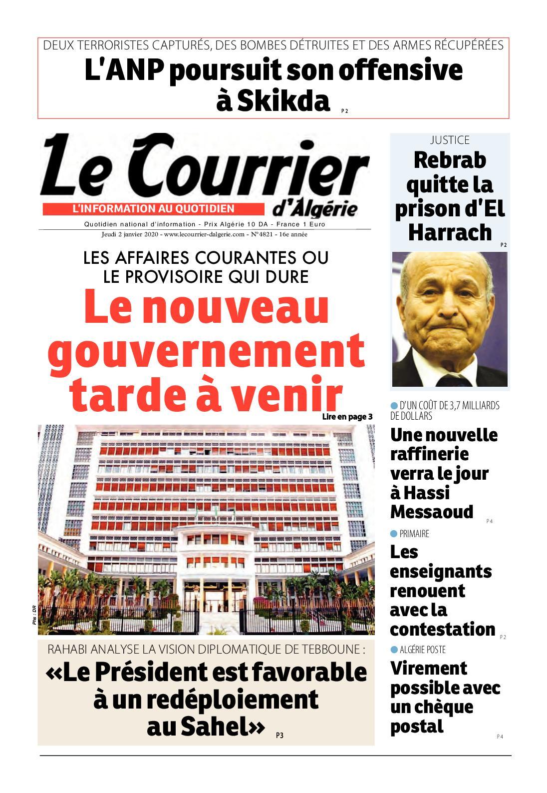 Le Courrier d'Algérie du 02 Janvier 2020