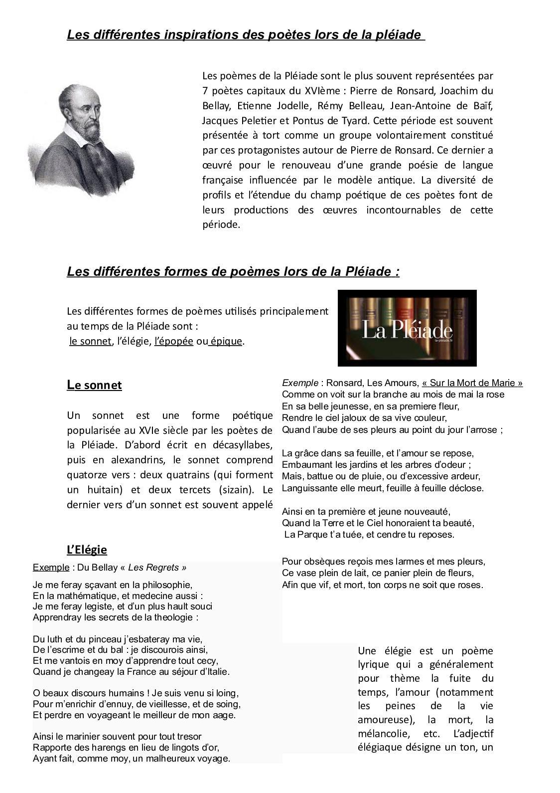 Calaméo Texte 7 Les Inspirations De La Pleiade