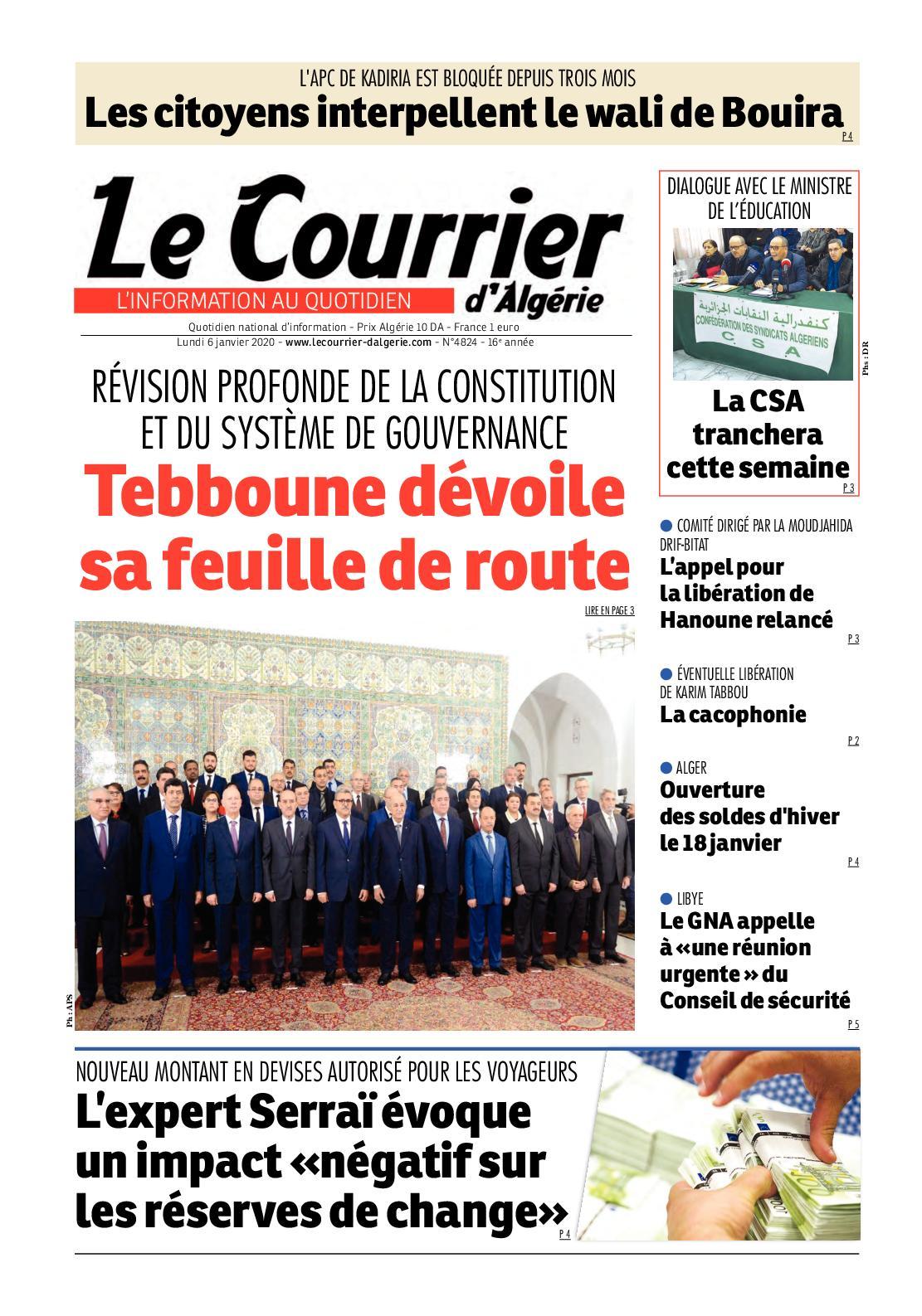 Le Courrier D'algérie Du Lundi 6 Janvier 2020