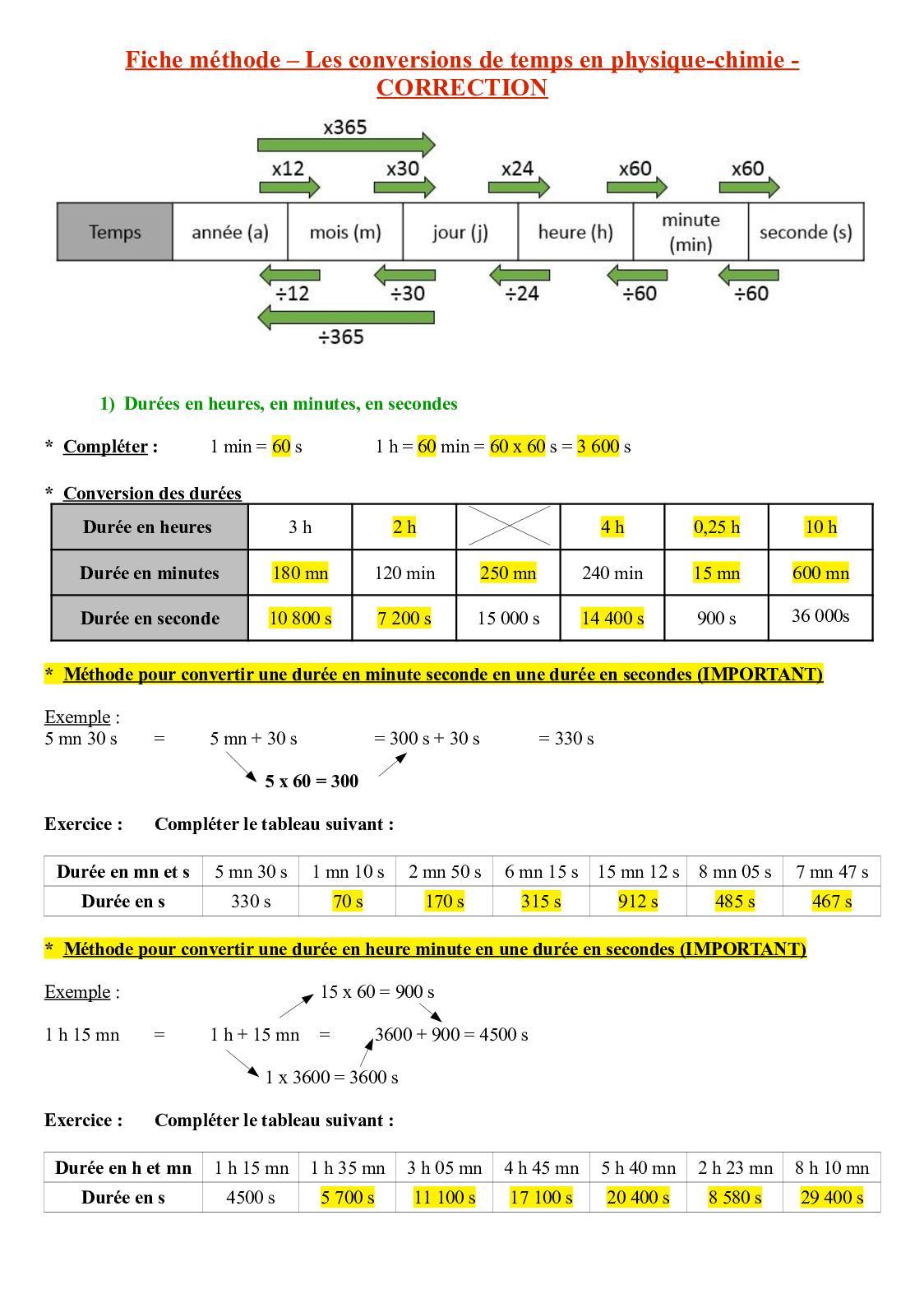 Calaméo - 4e - Conversions de temps CORRECTION