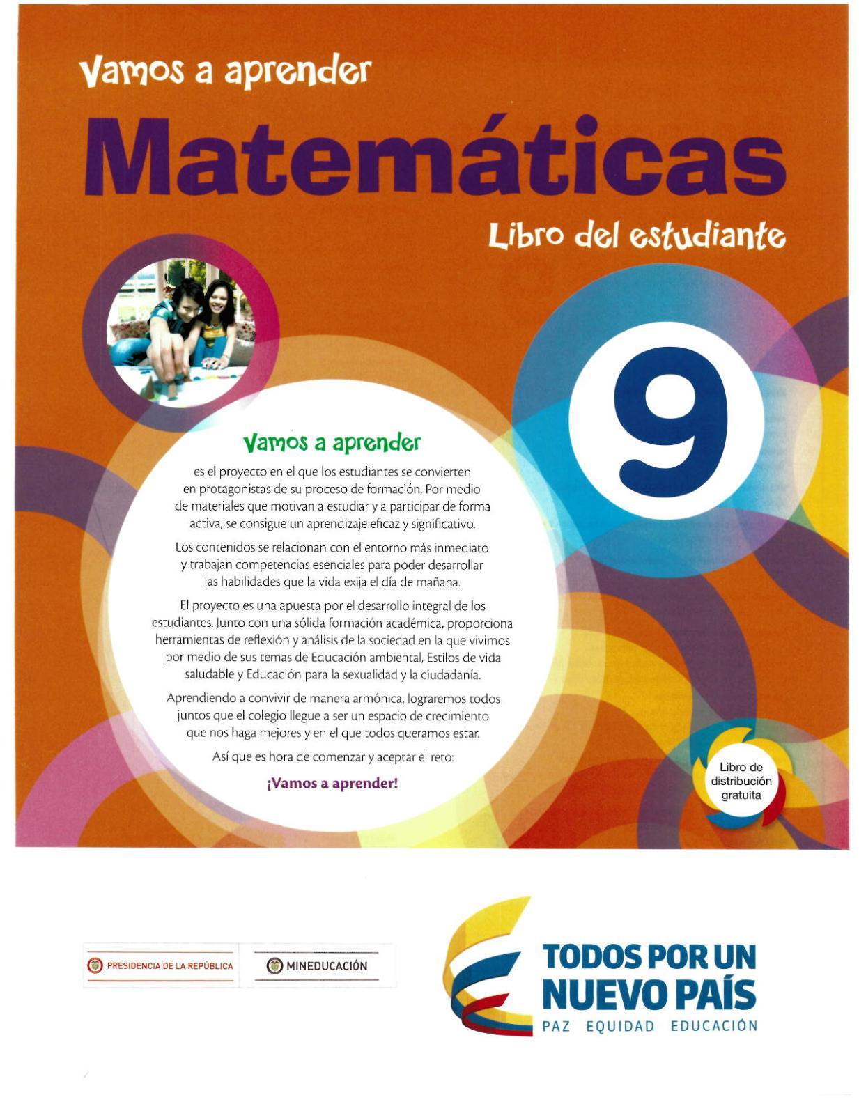 Matemáticas 9 Vamos A Aprender