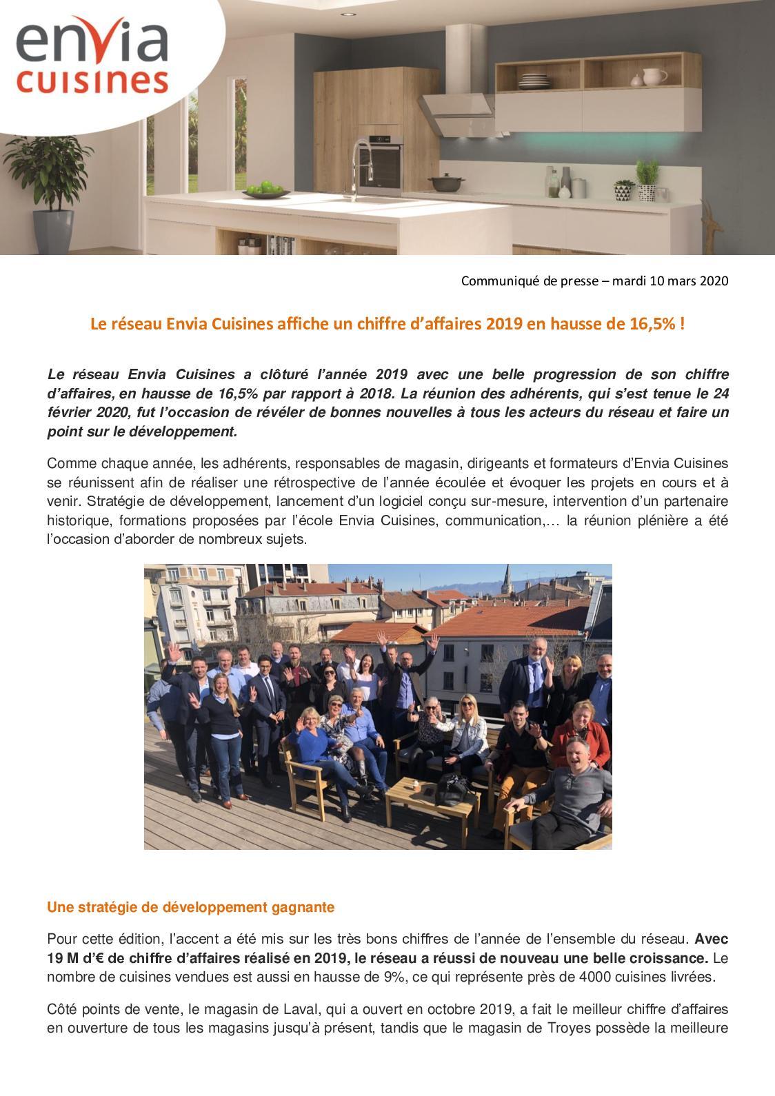 Calameo Communique De Presse Reunion Des Adherens Envia Cuisines