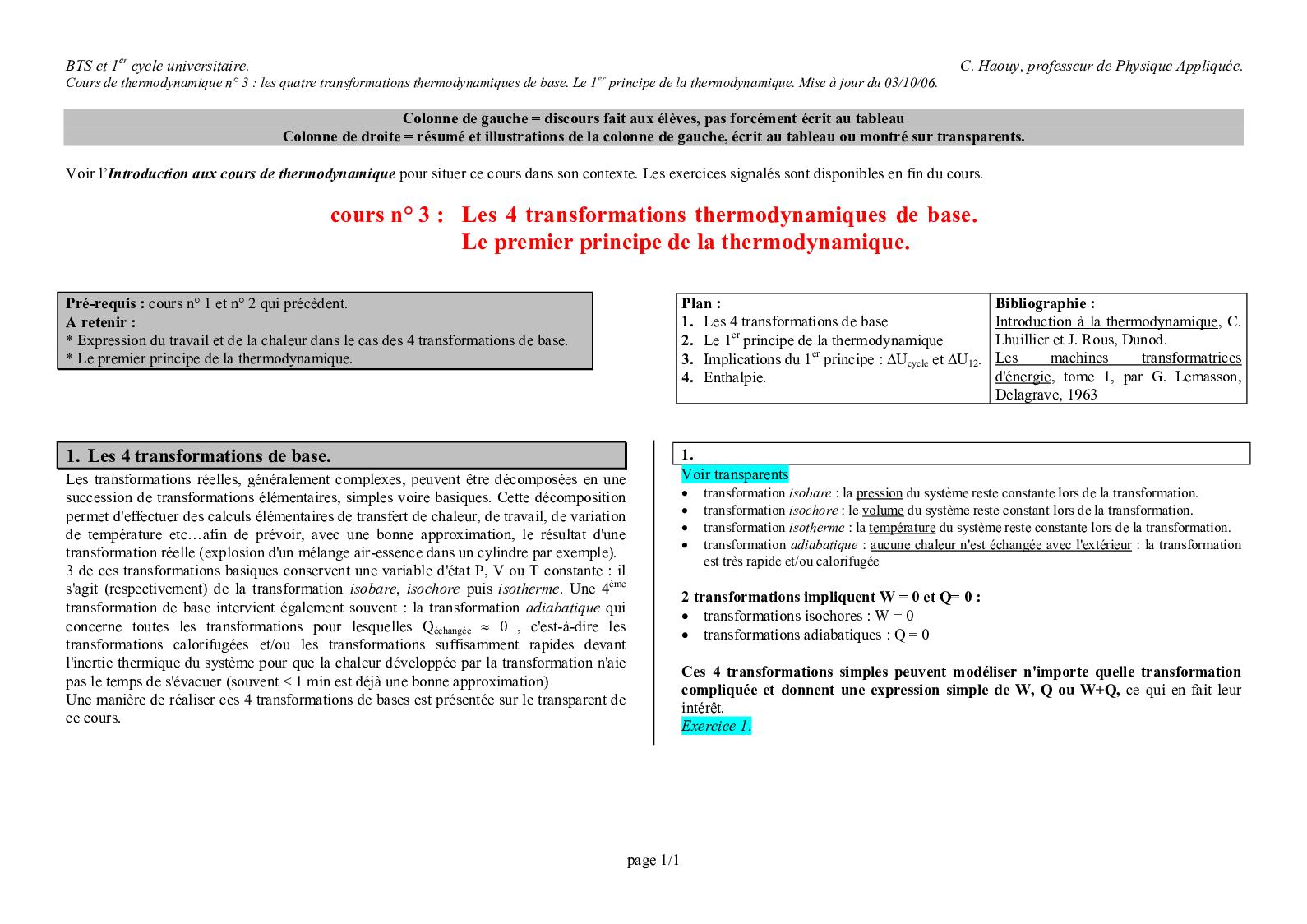 Cours 3 + Exo Thermo