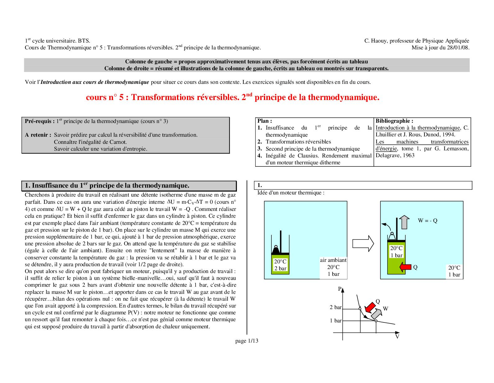 Cours 5 + Exo Thermo