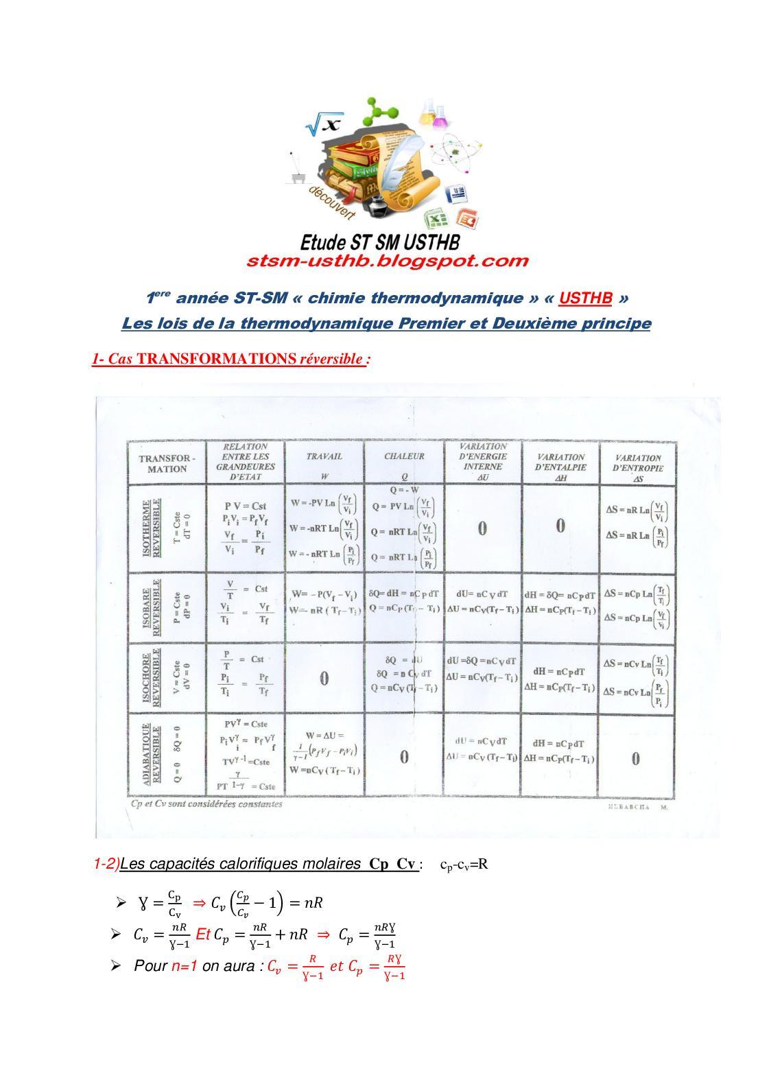Les Lois De La Thermodynamique Premier Et Deuxième Principe(résumés)