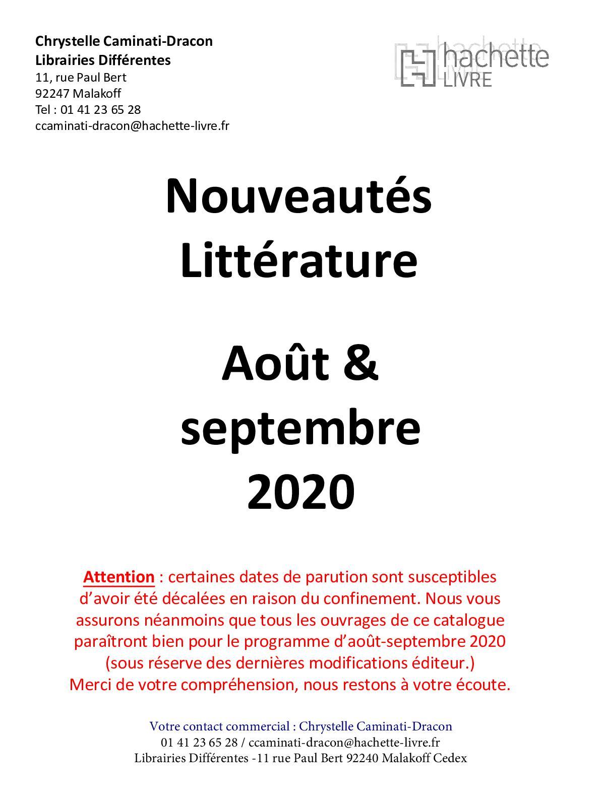 Calameo Catalogue Des Nouveautes Aout Septembre 2020