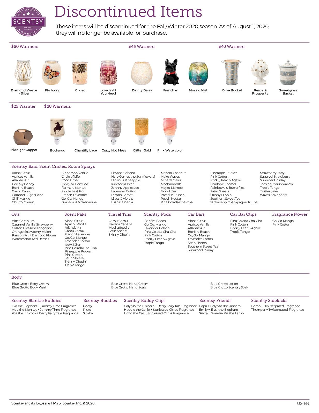 Calameo Scentsy Fall Winter 2020 Discontinued List