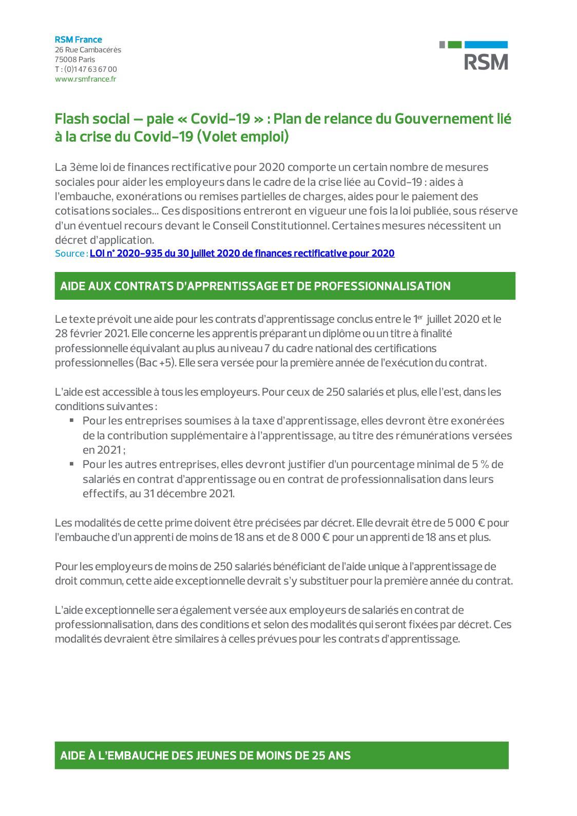 Calameo Flash Social Plan De Relance Du Gouvernement Lie A La Crise Du Covid 19 Volet Emploi