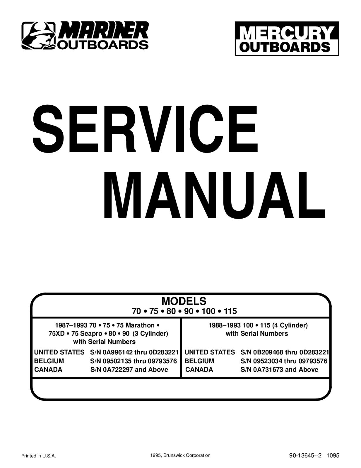 Calaméo - 1987 1993 Mercury Mariner Outboard 2 Stroke 70 75 80 90 100 115 Hp  Motors Service Repair Manual Pdf Preview Highly Detailed Fsm Perfect For  The DiyCalaméo