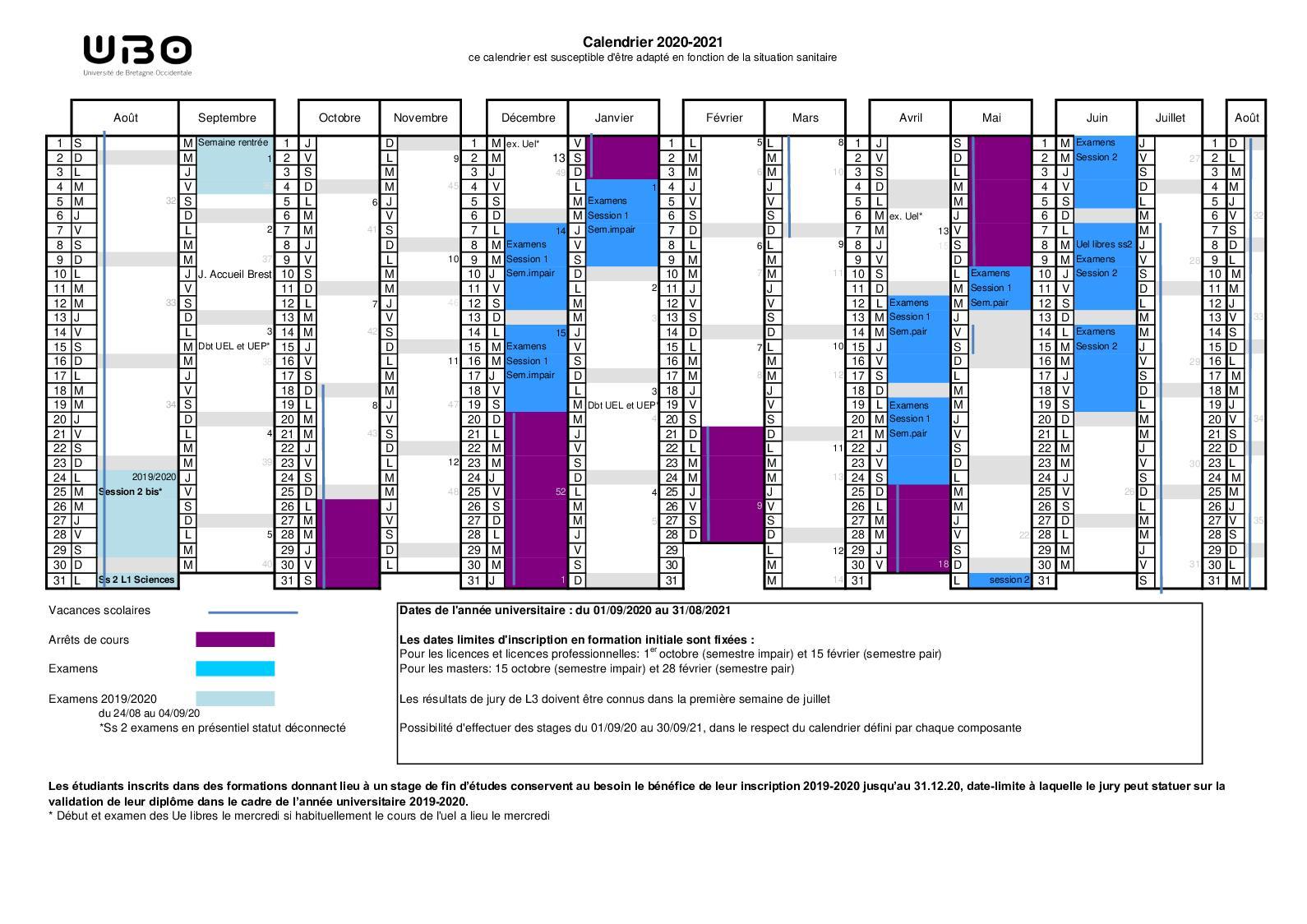Calendrier Ubo 2021 Calaméo   Calendrier Universitaire UBO 2020 2021