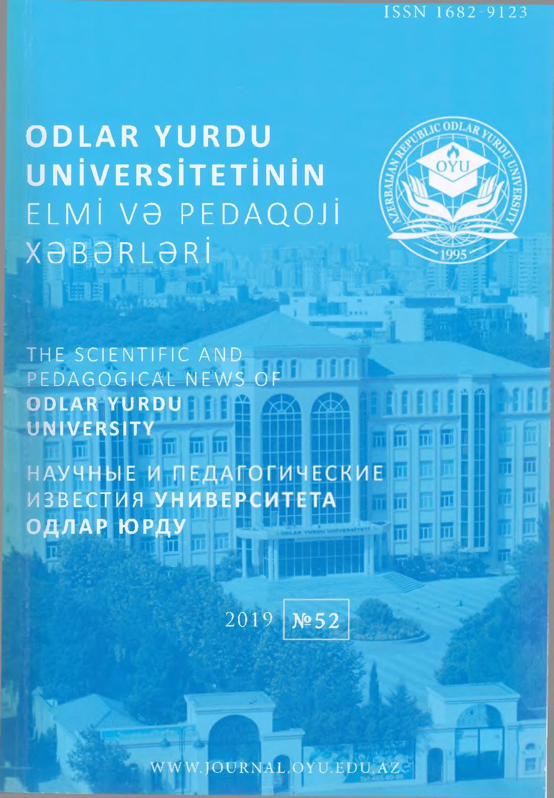 Calameo Odlar Yurdu Universiteti Elmi Və Pedaqoji Xəbərlər 2019 52