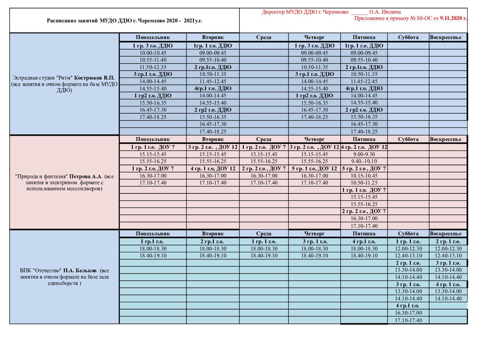 Calaméo - ГОТОВО расписание 2020 2021, правленное