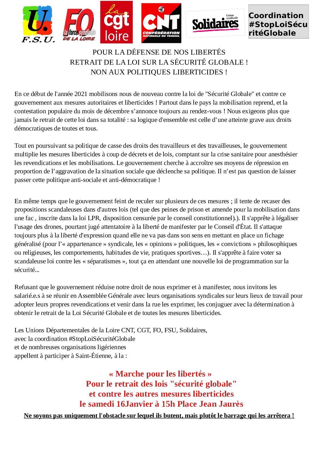 Calameo Communique Intersyndical Du 16 01 21