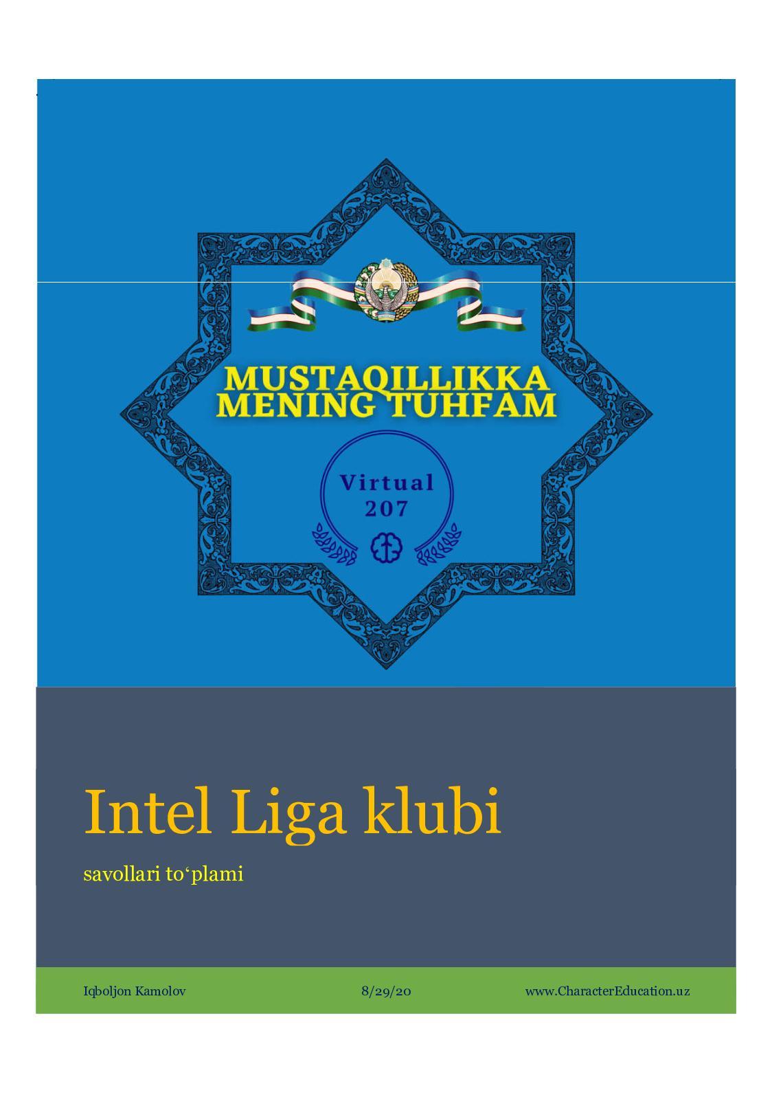 """Intel Liga"" intellektual klubi mantiqiy savollar toʻplami (1-qism)"