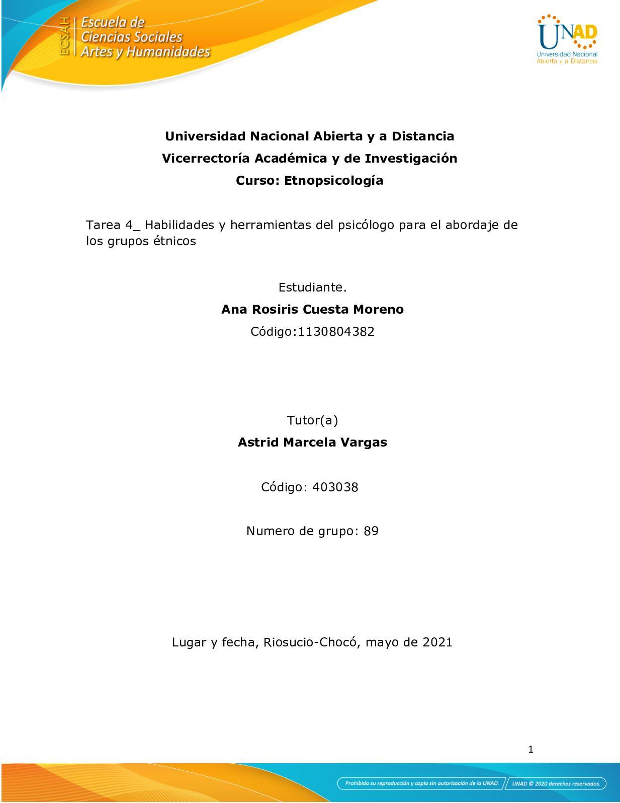 Tarea 4 Habilidades Y Herramientas Del Psicólogo Para El Abordaje De Los Grupos éTnicos Ana R C M