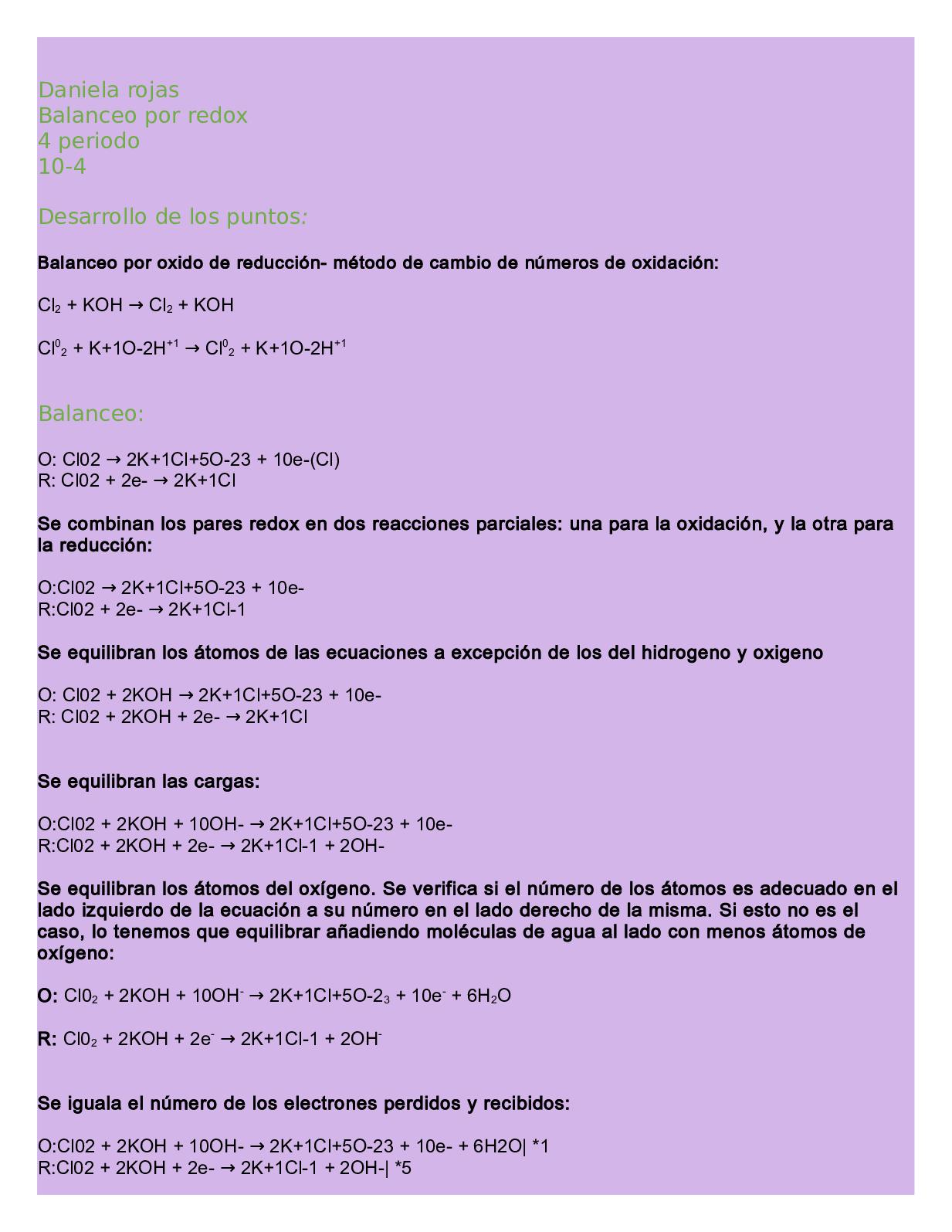 Actividad Balanceo Redox Daniela Rojas 10 4